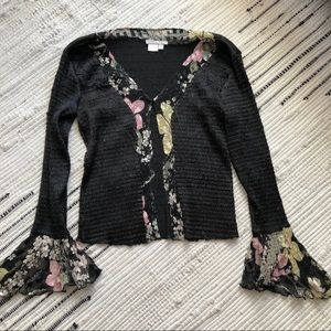 Black flutter cuff blouse